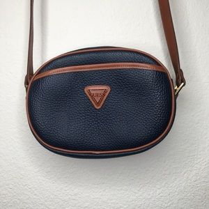 Guess Bags - Guess Vintage Leather crossbody Bag Navy / Brown